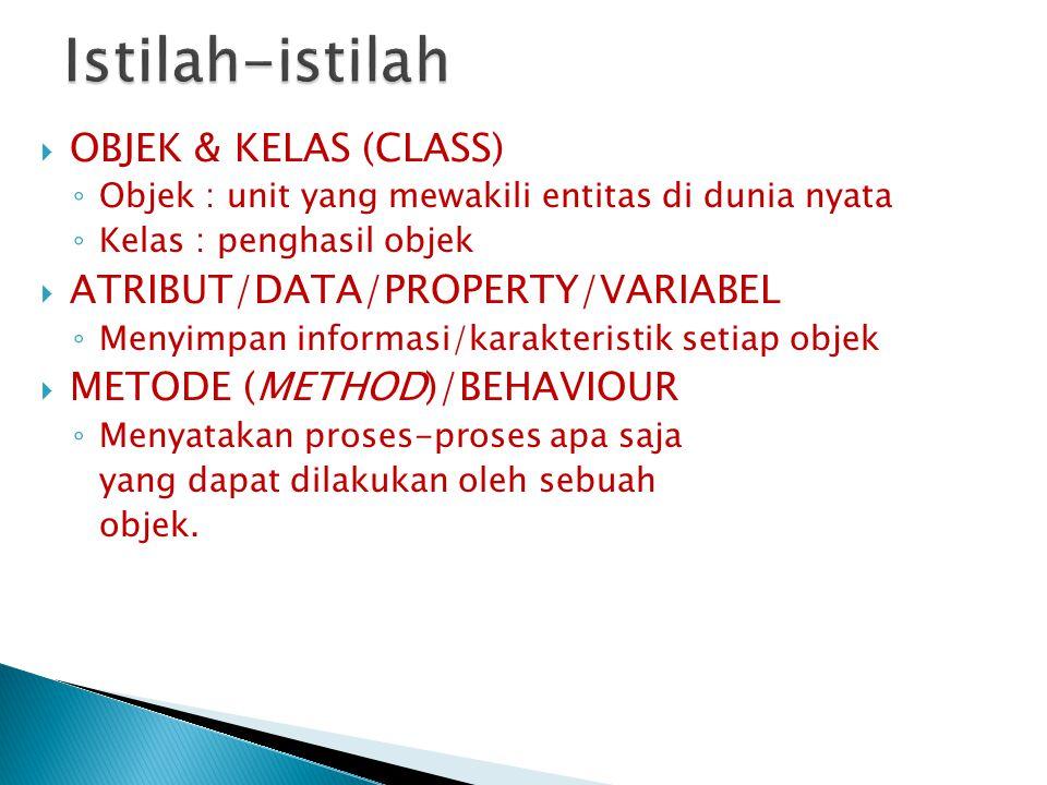 Istilah-istilah OBJEK & KELAS (CLASS) ATRIBUT/DATA/PROPERTY/VARIABEL