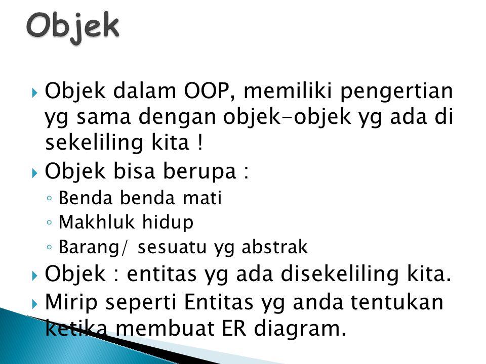 Objek Objek dalam OOP, memiliki pengertian yg sama dengan objek-objek yg ada di sekeliling kita !
