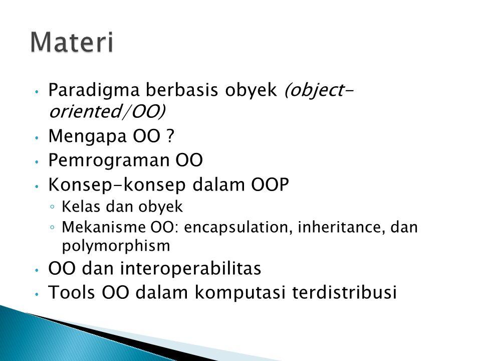 Materi Paradigma berbasis obyek (object- oriented/OO) Mengapa OO