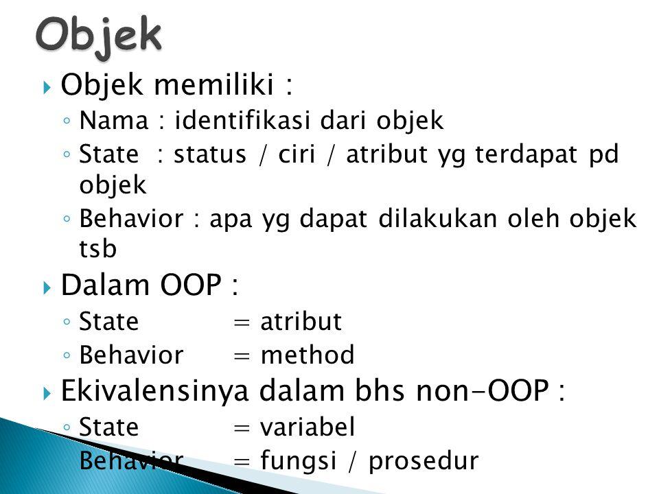 Objek Objek memiliki : Dalam OOP : Ekivalensinya dalam bhs non-OOP :