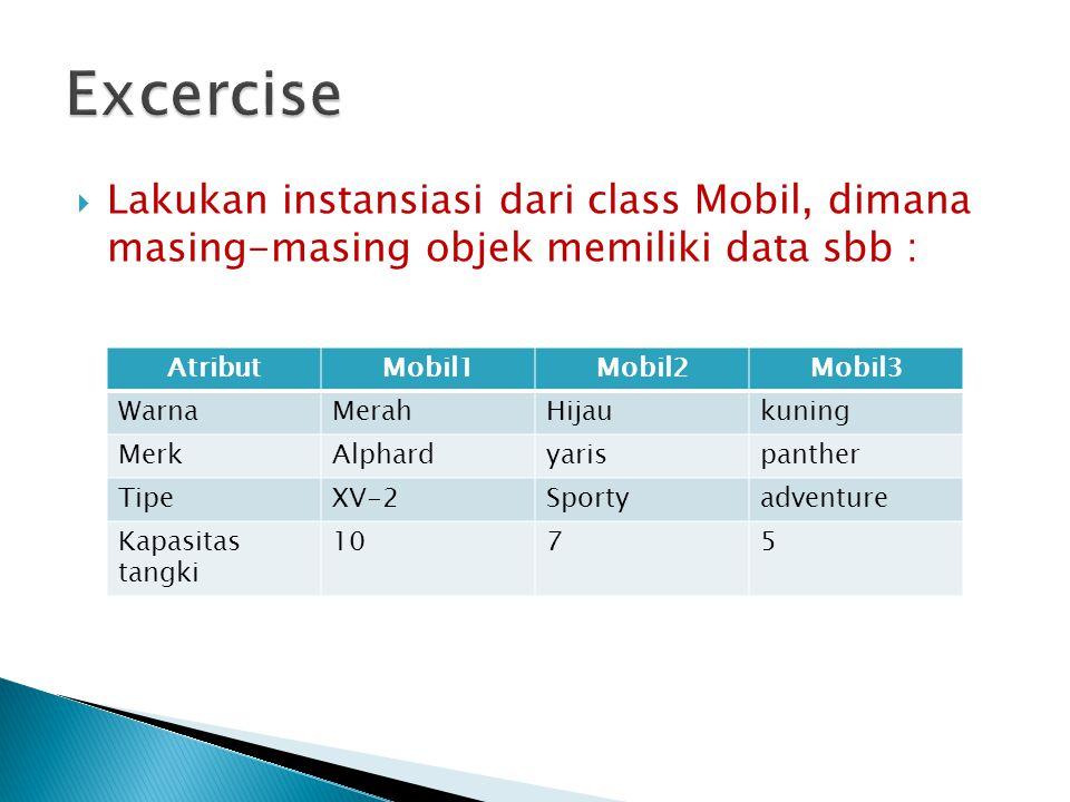 Excercise Lakukan instansiasi dari class Mobil, dimana masing-masing objek memiliki data sbb : Atribut.