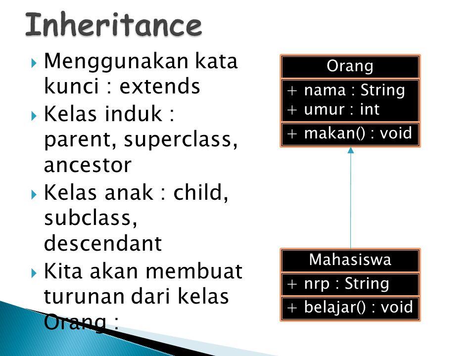 Inheritance Menggunakan kata kunci : extends