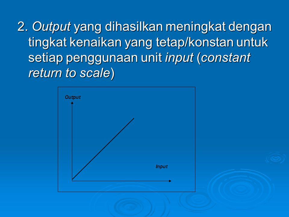 2. Output yang dihasilkan meningkat dengan tingkat kenaikan yang tetap/konstan untuk setiap penggunaan unit input (constant return to scale)