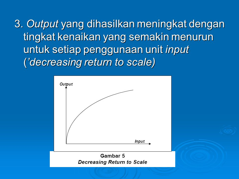 Decreasing Return to Scale