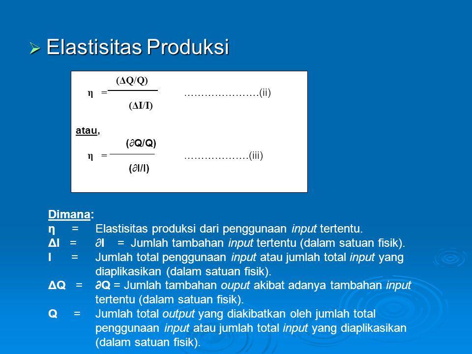 Elastisitas Produksi Dimana:
