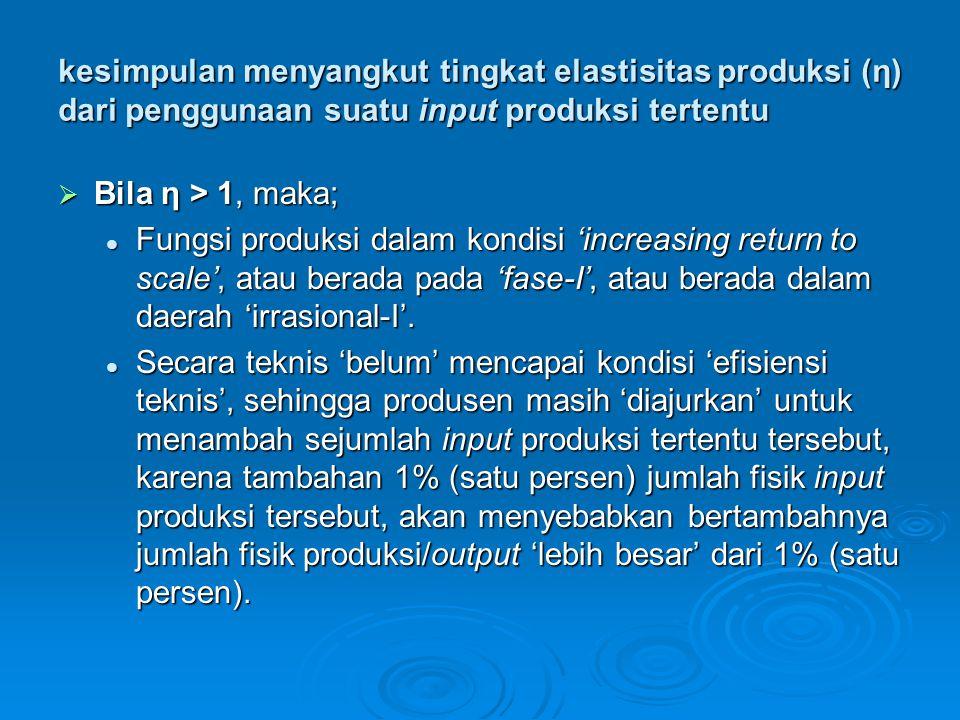 kesimpulan menyangkut tingkat elastisitas produksi (η) dari penggunaan suatu input produksi tertentu