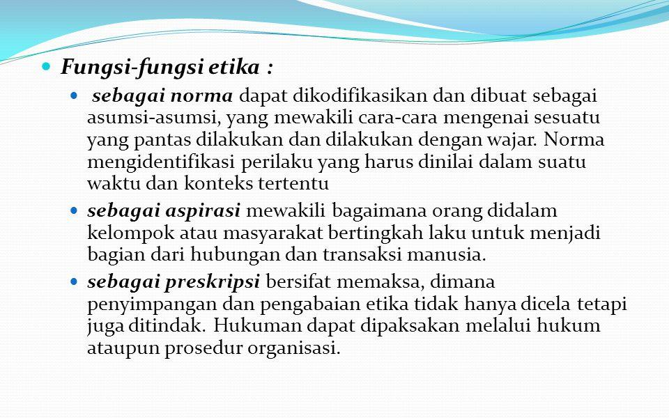Fungsi-fungsi etika :