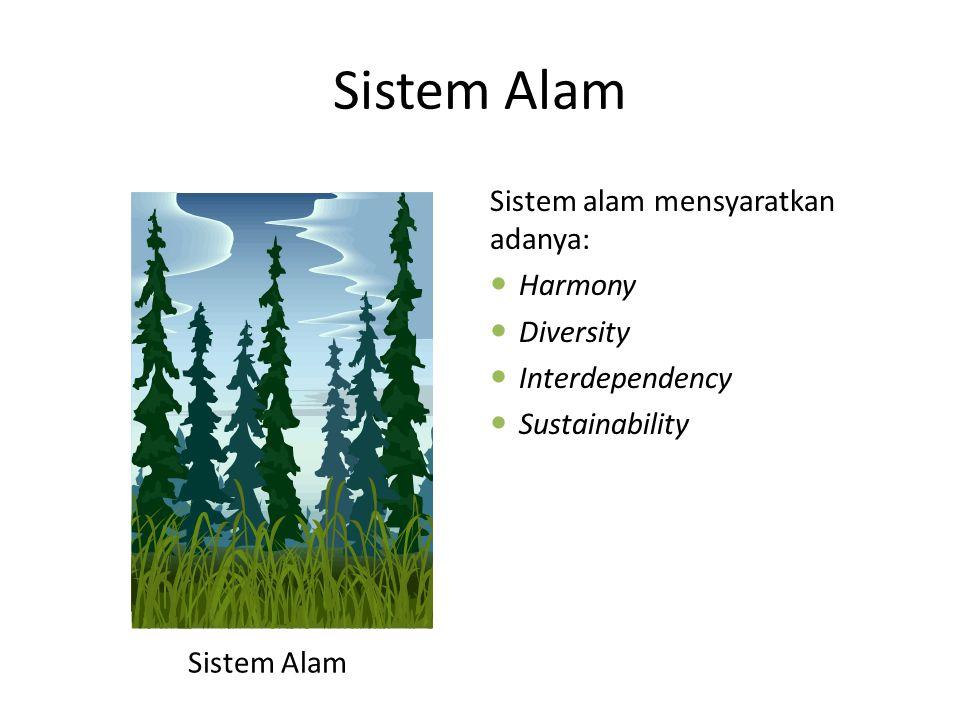 Sistem Alam Sistem alam mensyaratkan adanya: Harmony Diversity