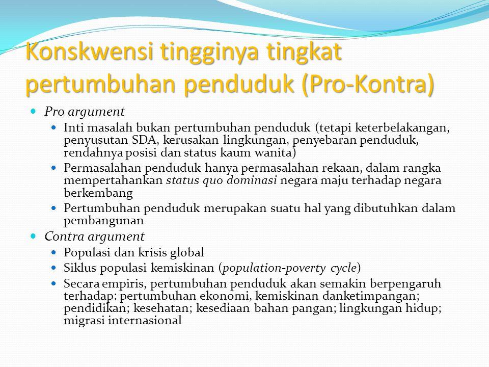 Konskwensi tingginya tingkat pertumbuhan penduduk (Pro-Kontra)