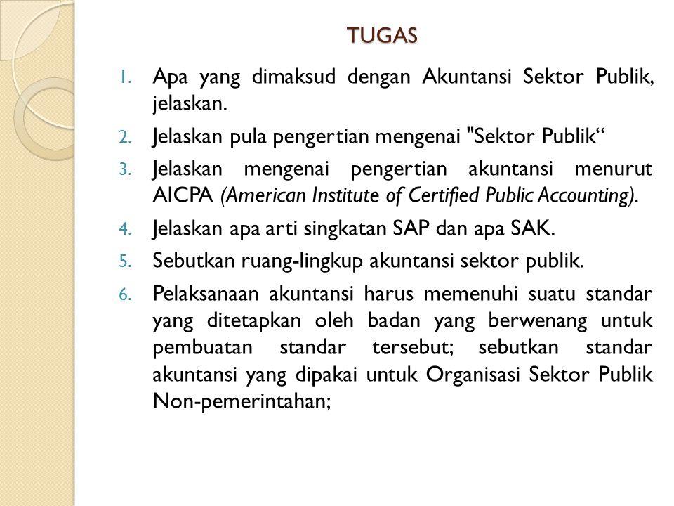 TUGAS Apa yang dimaksud dengan Akuntansi Sektor Publik, jelaskan. Jelaskan pula pengertian mengenai Sektor Publik