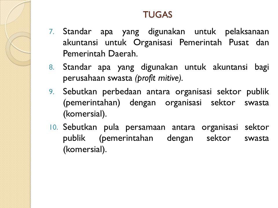 TUGAS Standar apa yang digunakan untuk pelaksanaan akuntansi untuk Organisasi Pemerintah Pusat dan Pemerintah Daerah.