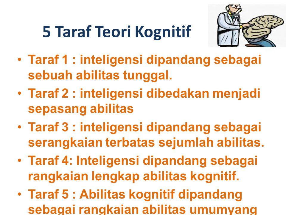 5 Taraf Teori Kognitif Taraf 1 : inteligensi dipandang sebagai sebuah abilitas tunggal. Taraf 2 : inteligensi dibedakan menjadi sepasang abilitas.