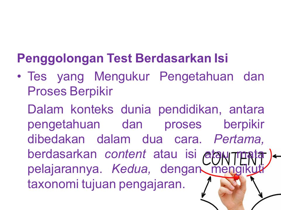 Penggolongan Test Berdasarkan Isi