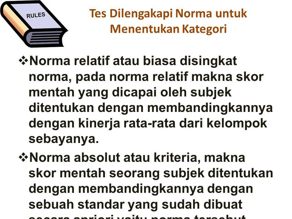 Tes Dilengakapi Norma untuk Menentukan Kategori