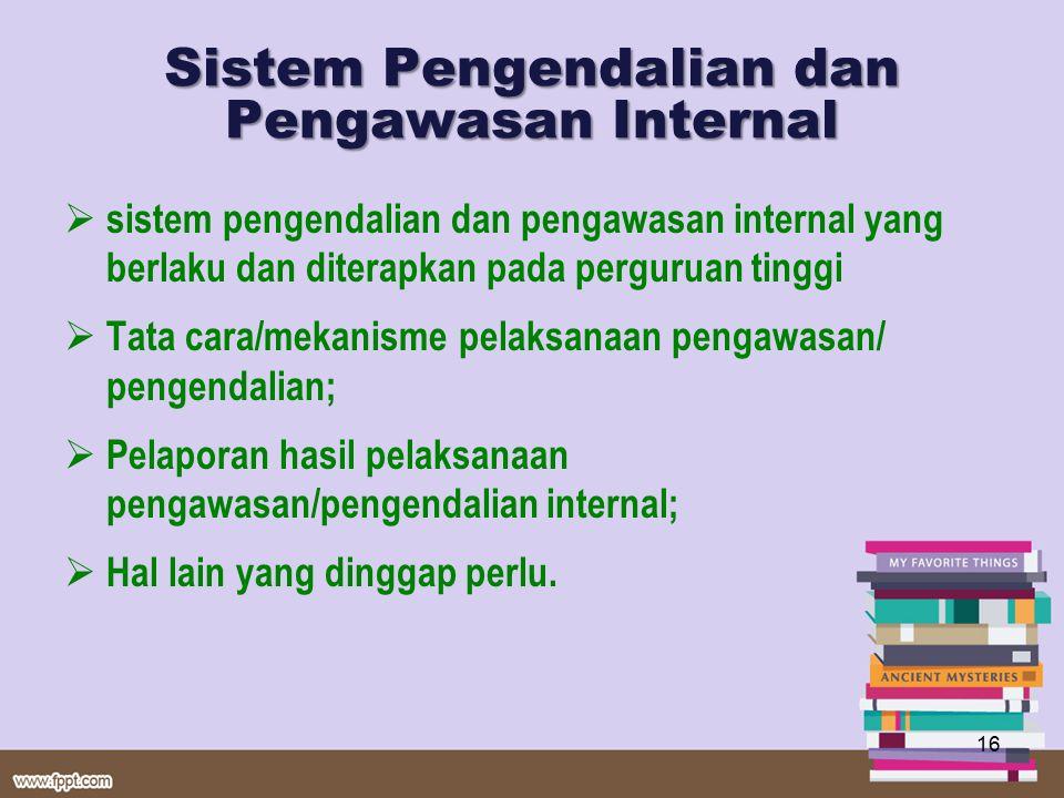 Sistem Pengendalian dan Pengawasan Internal