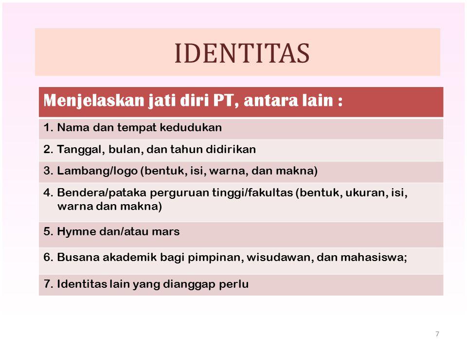 IDENTITAS Menjelaskan jati diri PT, antara lain :