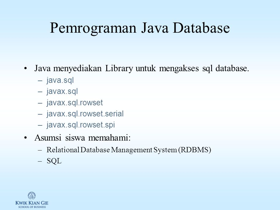 Pemrograman Java Database