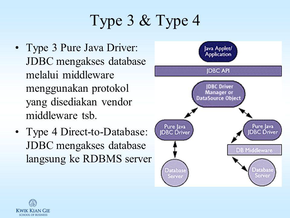Type 3 & Type 4 Type 3 Pure Java Driver: JDBC mengakses database melalui middleware menggunakan protokol yang disediakan vendor middleware tsb.