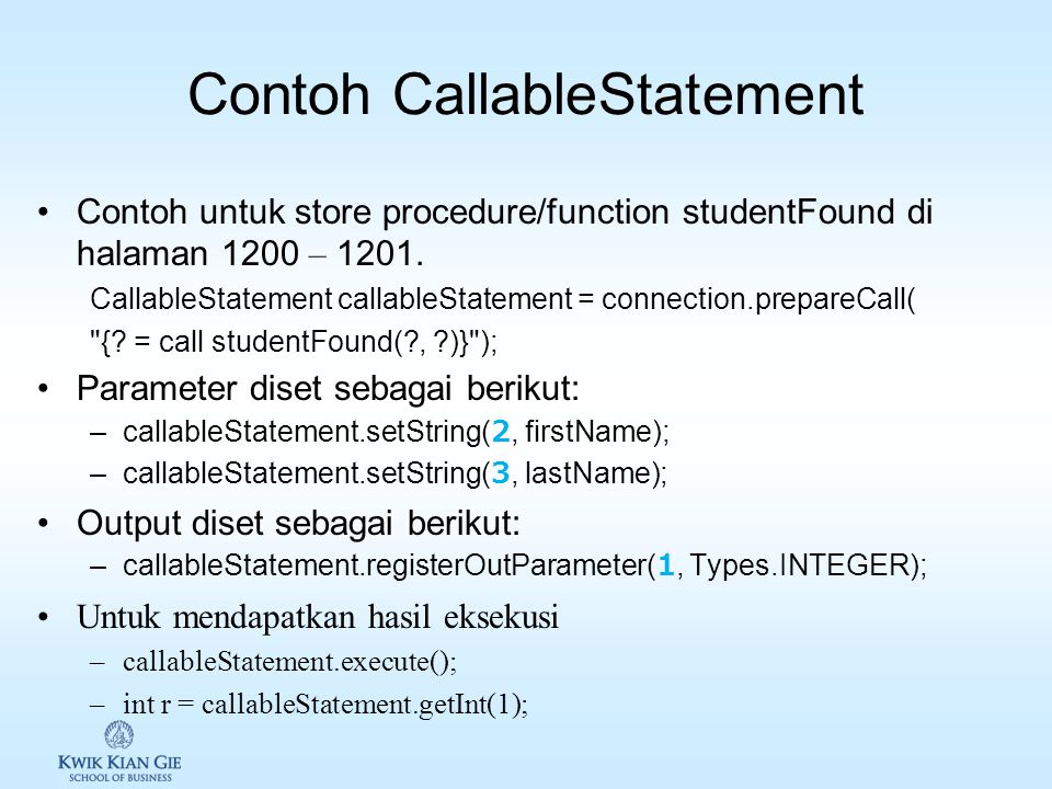 Contoh CallableStatement
