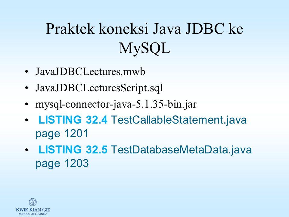 Praktek koneksi Java JDBC ke MySQL