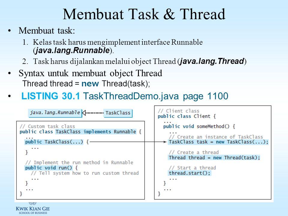 Membuat Task & Thread Membuat task: Syntax untuk membuat object Thread