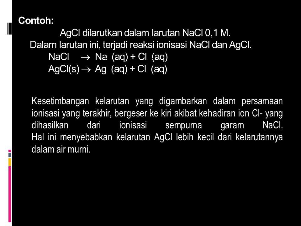 Contoh:. AgCl dilarutkan dalam larutan NaCl 0,1 M