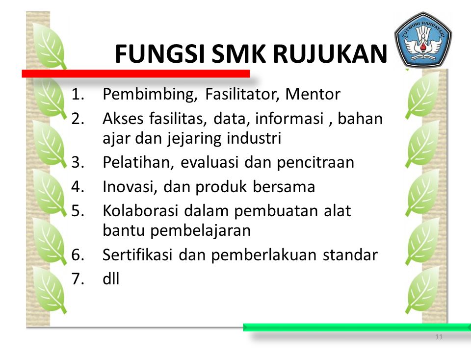 FUNGSI SMK RUJUKAN Pembimbing, Fasilitator, Mentor