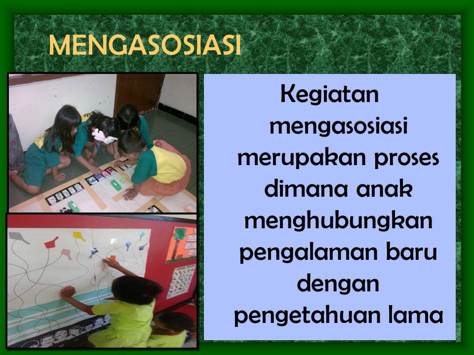 MENGASOSIASI Kegiatan mengasosiasi merupakan proses dimana anak menghubungkan pengalaman baru dengan pengetahuan lama.