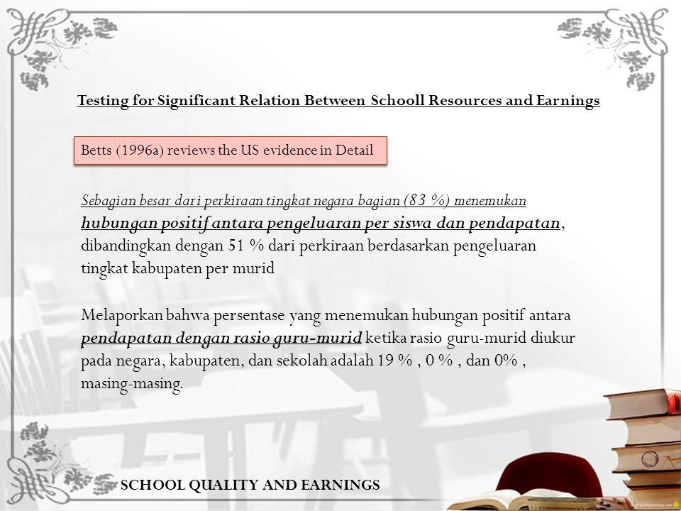 Testing for Significant Relation Between Schooll Resources and Earnings