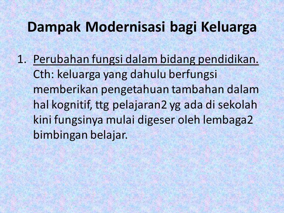 Dampak Modernisasi bagi Keluarga