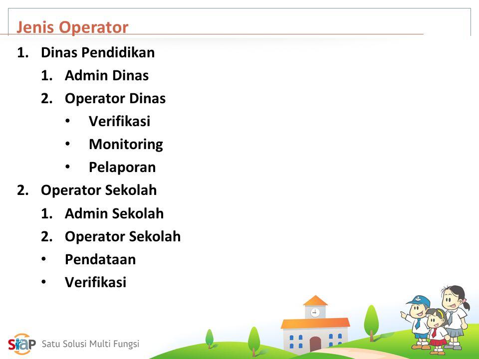 Jenis Operator Dinas Pendidikan Admin Dinas Operator Dinas Verifikasi