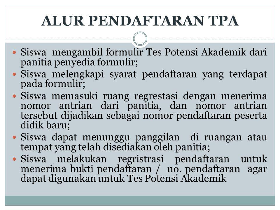 ALUR PENDAFTARAN TPA Siswa mengambil formulir Tes Potensi Akademik dari panitia penyedia formulir;