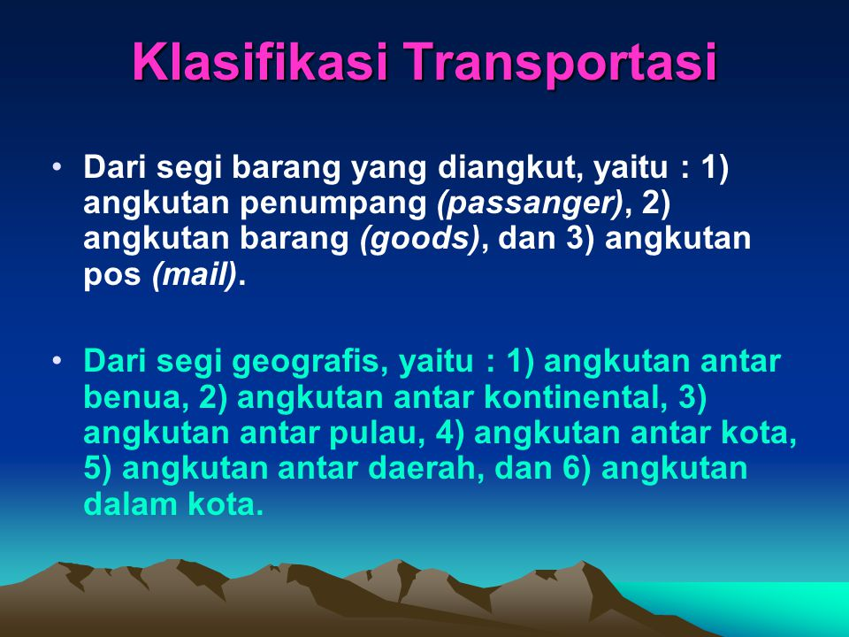 Klasifikasi Transportasi