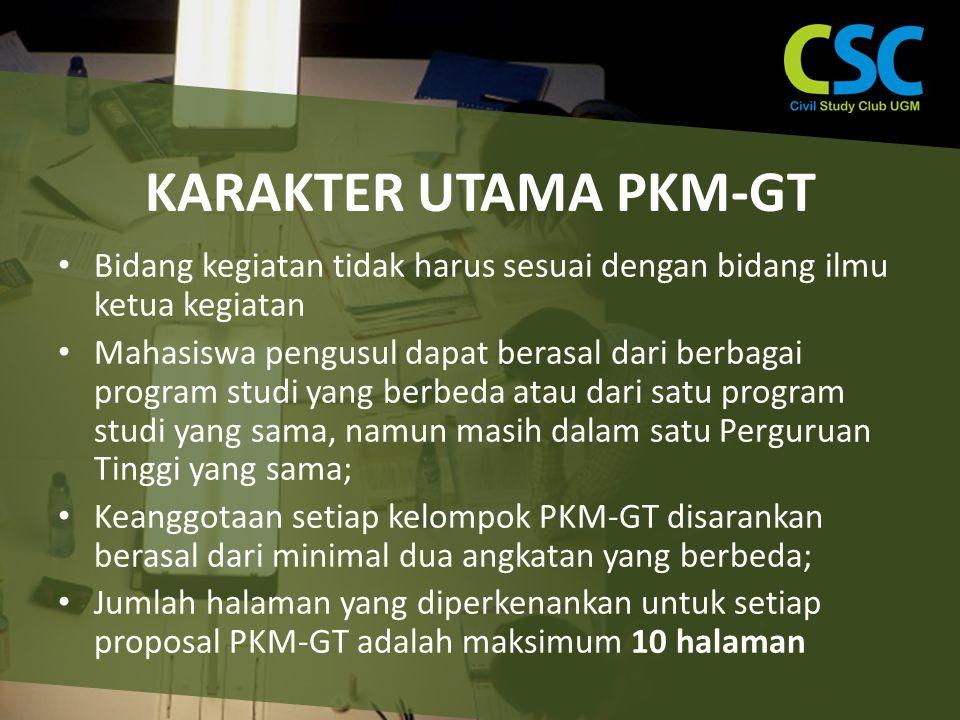 KARAKTER UTAMA PKM-GT Bidang kegiatan tidak harus sesuai dengan bidang ilmu ketua kegiatan.