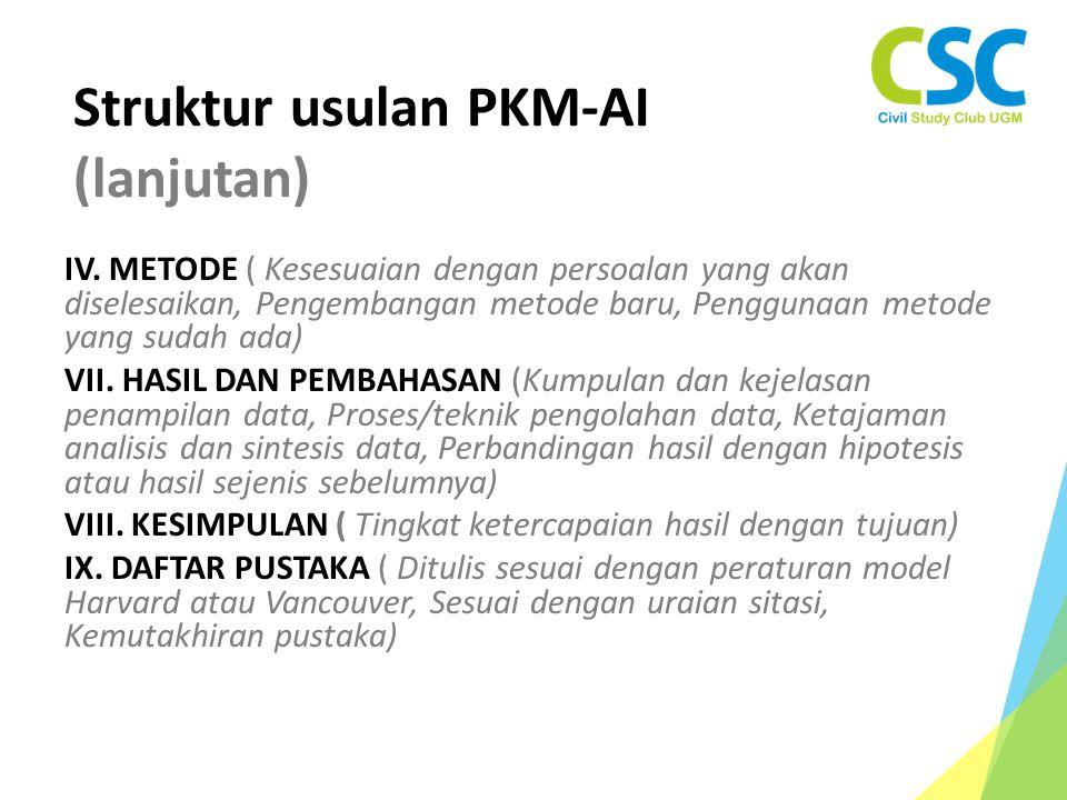 Struktur usulan PKM-AI (lanjutan)