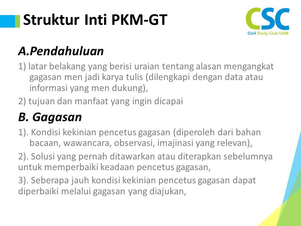 Struktur Inti PKM-GT A.Pendahuluan B. Gagasan