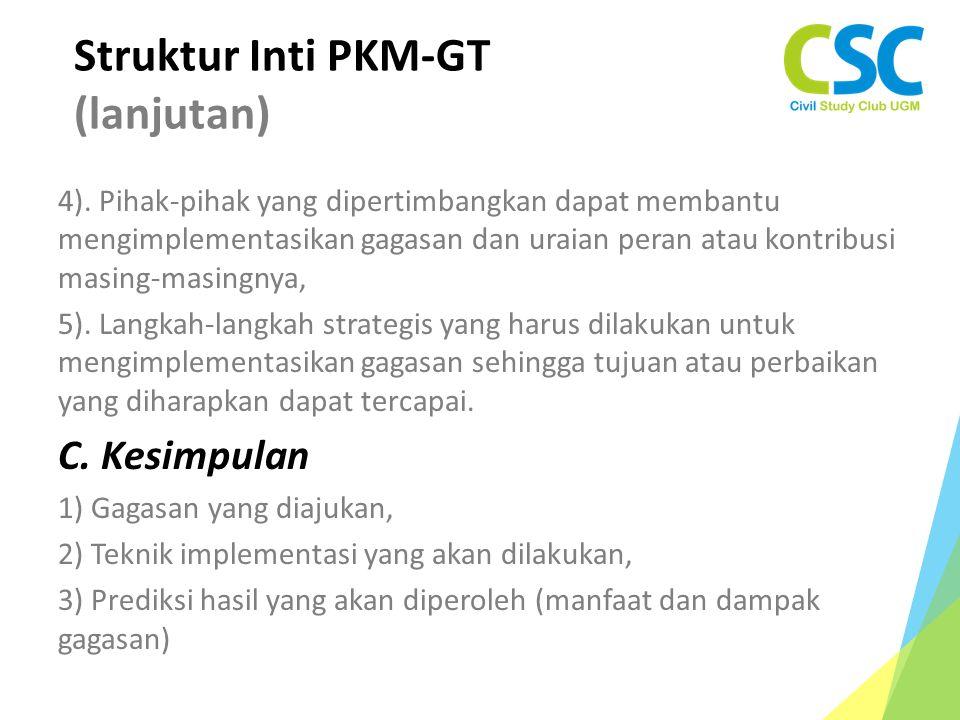 Struktur Inti PKM-GT (lanjutan)