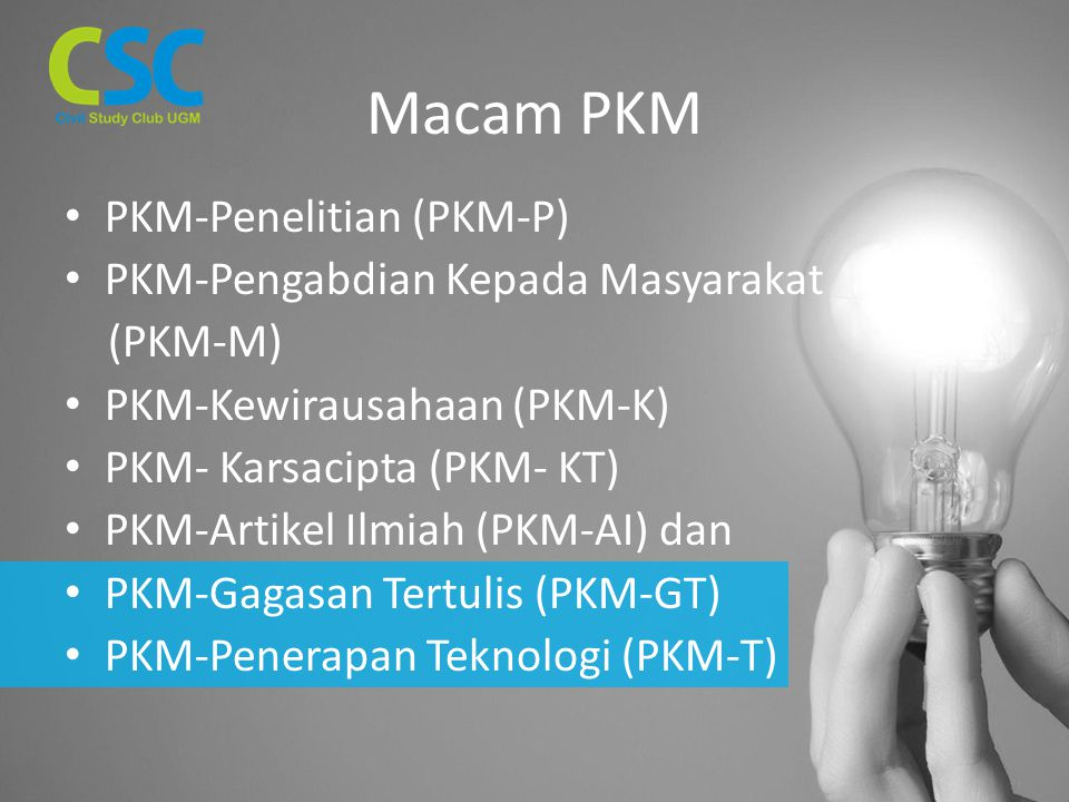 Macam PKM PKM-Penelitian (PKM-P) PKM-Pengabdian Kepada Masyarakat