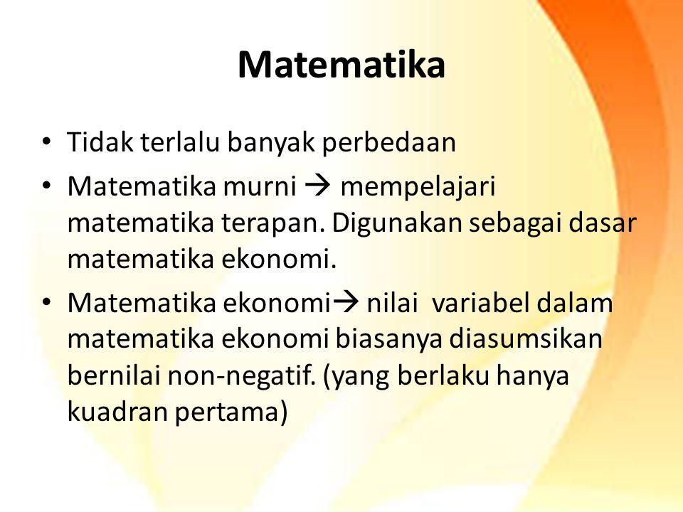 Matematika Tidak terlalu banyak perbedaan