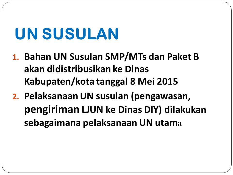 UN SUSULAN Bahan UN Susulan SMP/MTs dan Paket B akan didistribusikan ke Dinas Kabupaten/kota tanggal 8 Mei 2015.