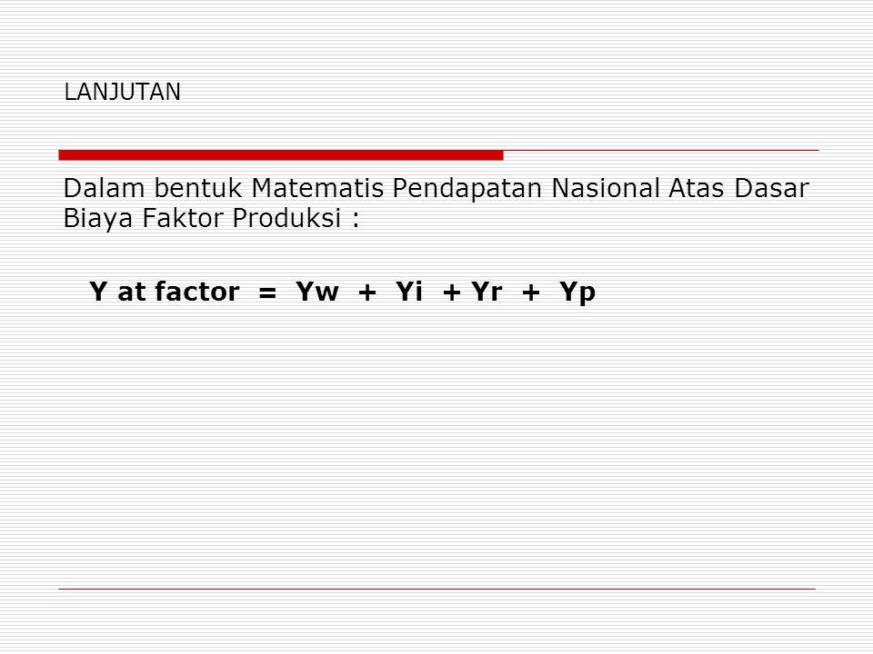 Y at factor = Yw + Yi + Yr + Yp