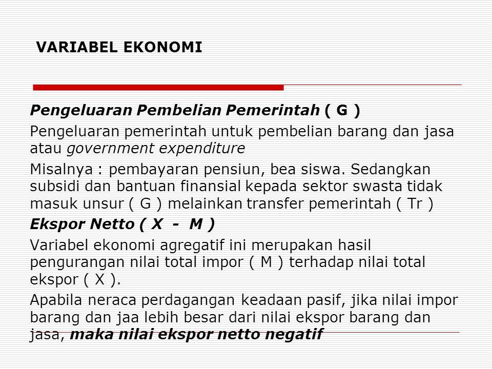 VARIABEL EKONOMI Pengeluaran Pembelian Pemerintah ( G ) Pengeluaran pemerintah untuk pembelian barang dan jasa atau government expenditure.