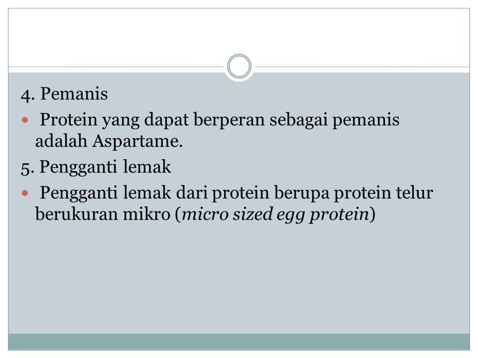 4. Pemanis Protein yang dapat berperan sebagai pemanis adalah Aspartame. 5. Pengganti lemak.