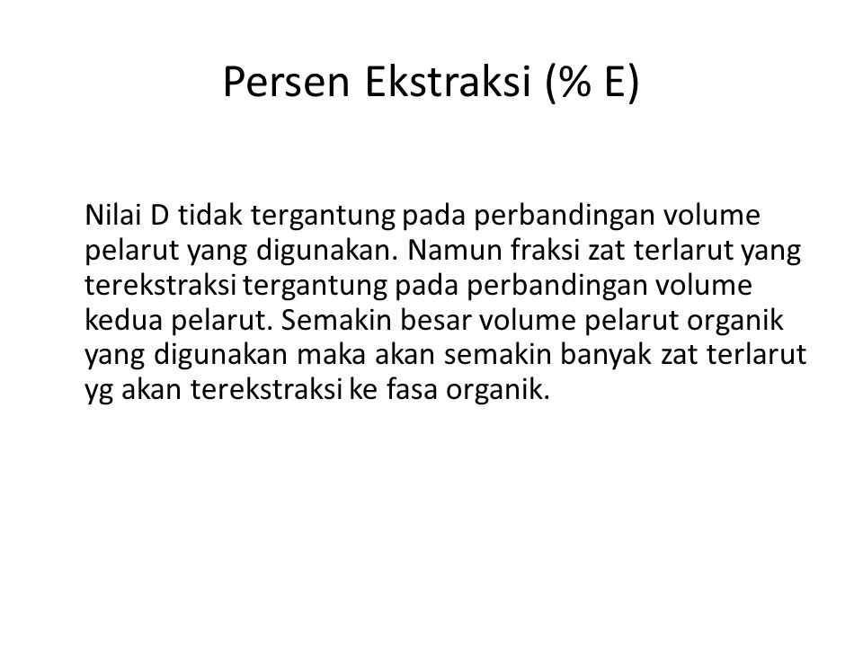Persen Ekstraksi (% E)