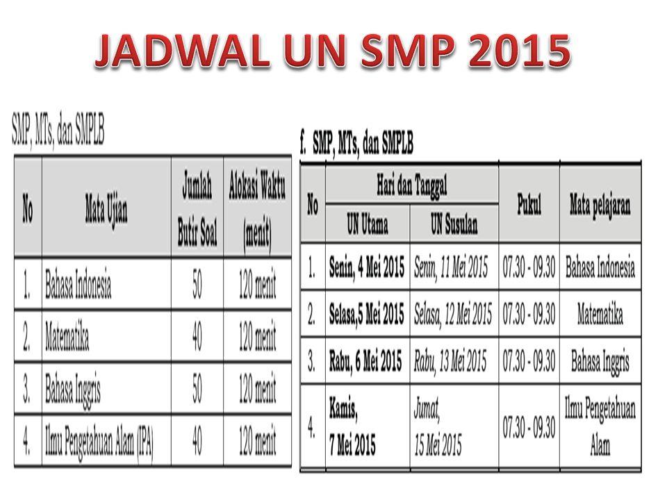 JADWAL UN SMP 2015