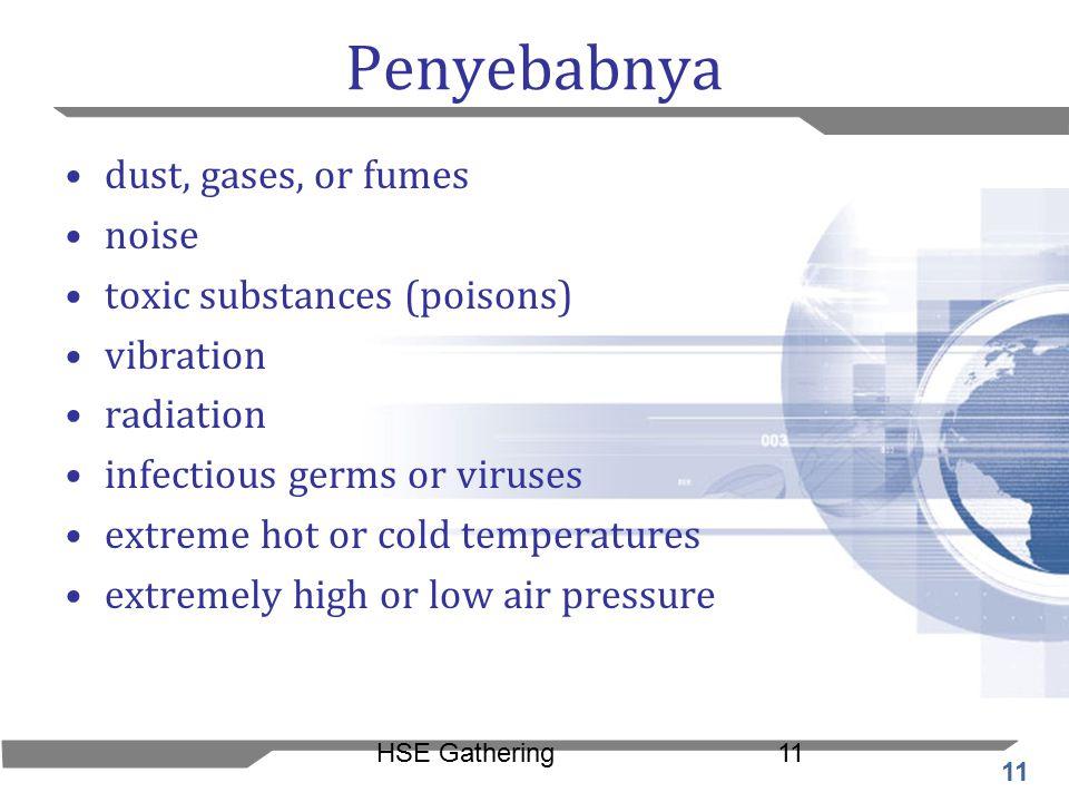Penyebabnya dust, gases, or fumes noise toxic substances (poisons)