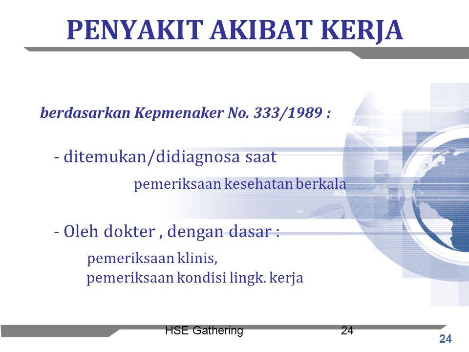 PENYAKIT AKIBAT KERJA berdasarkan Kepmenaker No. 333/1989 :