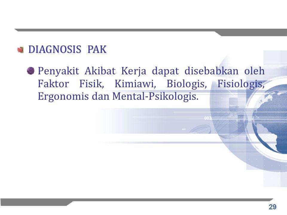 DIAGNOSIS PAK Penyakit Akibat Kerja dapat disebabkan oleh Faktor Fisik, Kimiawi, Biologis, Fisiologis, Ergonomis dan Mental-Psikologis.