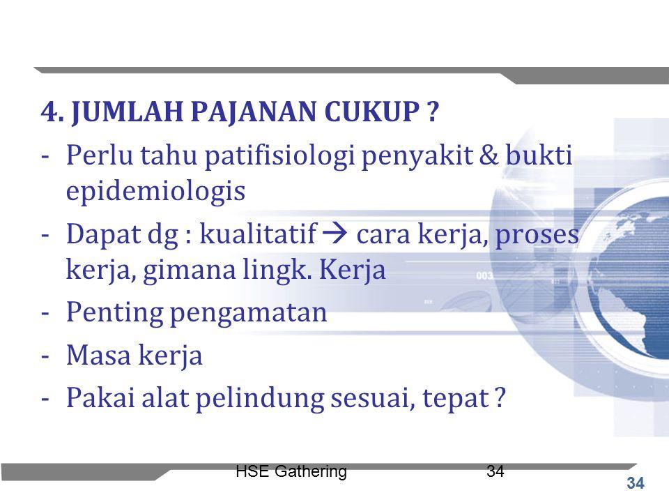 Perlu tahu patifisiologi penyakit & bukti epidemiologis
