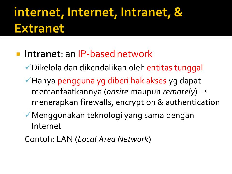 internet, Internet, Intranet, & Extranet
